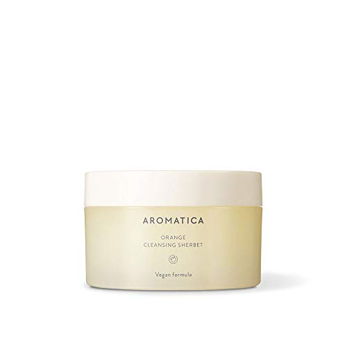 AROMATICA Orange Cleansing Sherbet 150g/5.29 oz | Cleansing Balm Makeup Remover | Sebum Balance | Melt-In Cleanser | Light Scent | Removes makeup, dust and other impurities | Suitable for all skin types