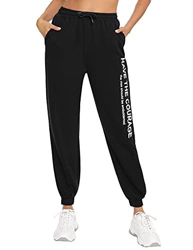 Aseniza Pantalon Chandal Mujer Pantalones Deportivos para Mujer con Bolsilpara, Pantalones Deporte Mujer Largos para Yoga Jogging Gimnasio Ejercicio(Negro,XL)