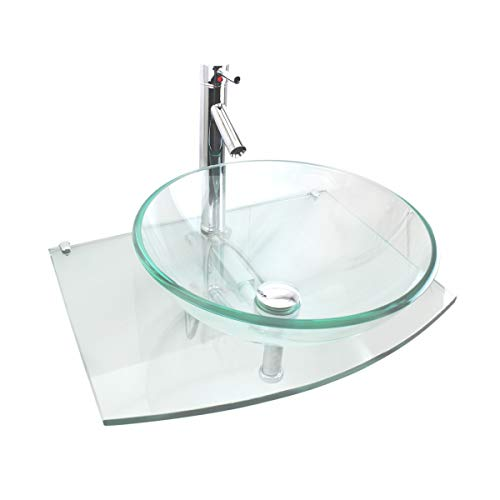 Halo Clear Tempered Glass Vessel Sink Complete Set With Chrome Faucet Drain Wall Mount Stainless Steel Unique Modern