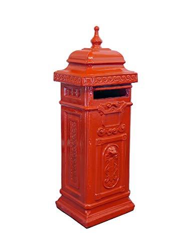 Antike Fundgrube Englischer Briefkasten freistehend aus Beton in rot | nostalgisch Postkasten Standbriefkasten | H: 110 cm (1373)