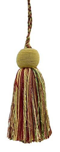 Set of 10 Decorative 10cm Tassel|Pastel Green, Yellow Maize, Light Brick Red|Veranda Collection|Style# VTS|Color: Daylily Bouquet - VNT8