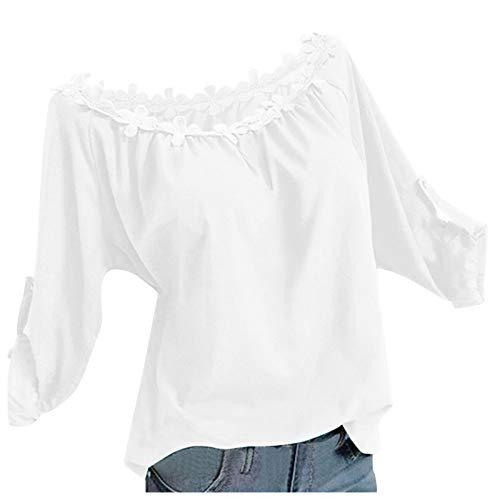 Wtouhe 2020 Tee Shirt Femme Cadeaux Manches Longues Chemisier Sweat-Shirt Hauts Casual Pull imprimé Tendance Ample Asymétrique Décontracté Bloc Couleur Patchwork T-Shirt Col Rond Vrac Tunique Tops