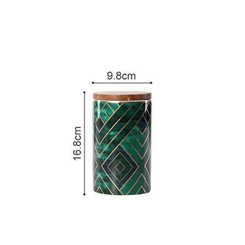 Keramikgläser, exquisite orientalische grüne Keramikdosen für Küche Gewürzaufbewahrung, Teedose, Kaffeedose mit Holzdeckel, keramik, 16.8x9.8cm