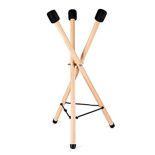 Soporte plegable para batería de mano con almohadilla protectora antideslizante de caucho natural, madera maciza de haya Handpan reforzada para instrumentos de percusión de más de 8 pulgadas