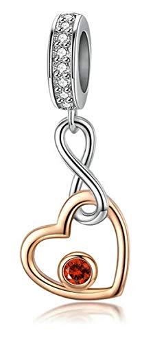 MariaFonte Abalorio con forma de corazón rosa de plata de ley 925 con circonita roja coral, compatible con las marcas más populares de pulseras y collares.