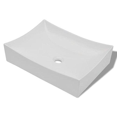 vidaXL Vasque de Salle Bains Céramique Haute Brillance Blanc Lavabo Lave-Mains
