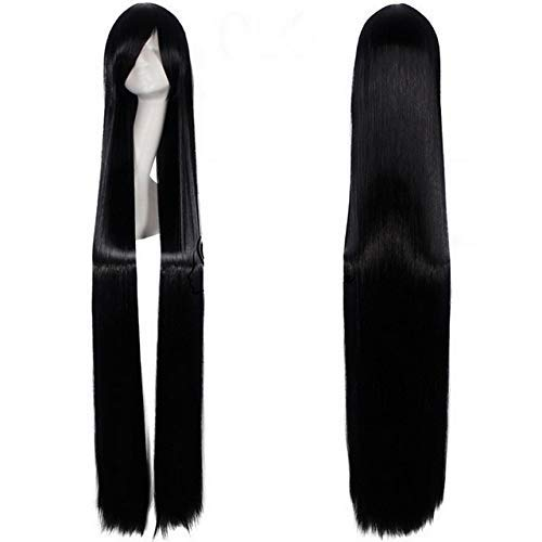 GJBXP 150cm Straight Super Long Anime Cosplay Wig With Bangs Synthetic Hair Black Blue Purple Red Orange White Wigs For Women Rose Net white black