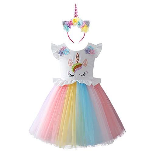 IWEMEK Unicornio Disfraz Niña Vestido de Cosplay Traje Princesa Tutu Falda para Fiesta Cumpleaños Ceremonia Boda Gala Navidad Halloween Carnaval Fotográfica para Bebés con Diadema 5-6 Años