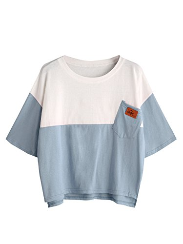 SweatyRocks Women's Color Block Half Sleeve High Low Casual Loose T-Shirt Tops Blue White X-Small