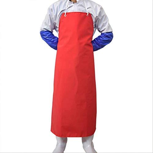 Schorten Mouwen Pvc Schort Waterproof Butchers Schorten Voor De Vrouw De Anti-Olie Chef Keukenschort for Men Cleaning Butchers Gereedschap Orange,Red
