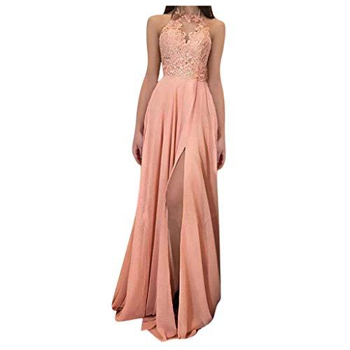 MAYOGO Damen Brautjungfernkleider Lang Ballkleid Spitze Applique Ärmelloses Neckholder Kleid Abendkleid Lang Standesamtkleid Abschlusskleid...