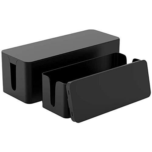 Baalaa Caja organizadora de cables – Caja de gestión de cables – Caja de cable para ocultar cubierta protectora contra sobretensiones – Juego de 2 unidades, color negro