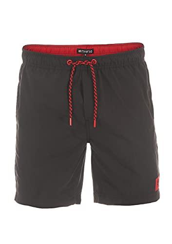 riverso Herren Badehose Badeshort RIVDavid Kurze Hose Sommer Sport Shorts Tunnelzug 100% Polyester Schwarz M, Größe:M, Farbe:Black Red (24001)