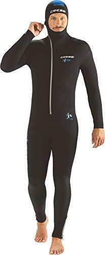 Cressi Herren Diver Man Monopiece Wetsuit Premium Neopren Tauchanzug mit Angesetzter Haube - Erhältlich in 5/7 mm, Schwarz/Blau, L/4
