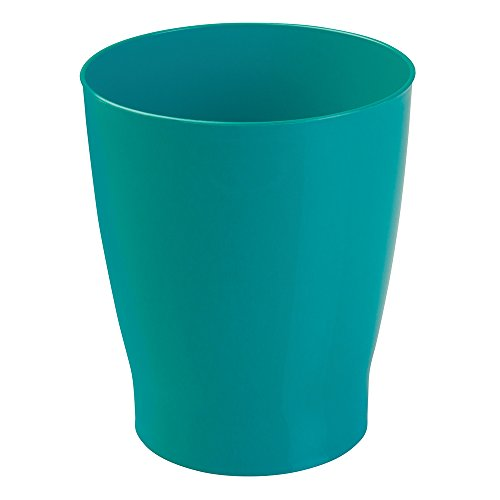 mDesign Slim Round Plastic Small Trash Can Wastebasket, Garbage Container Bin for Bathrooms, Powder Rooms, Kitchens, Home Offices, Kids Rooms - Teal Blue