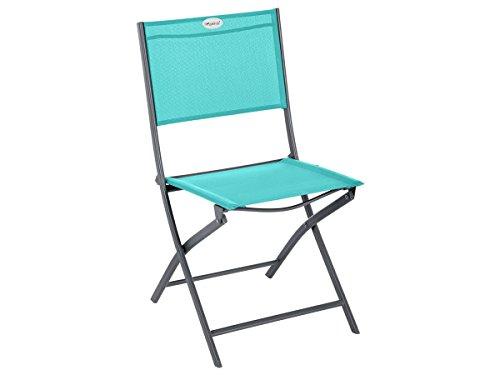 Chaise de jardin pliante métal Modula Emeraude/Graphite