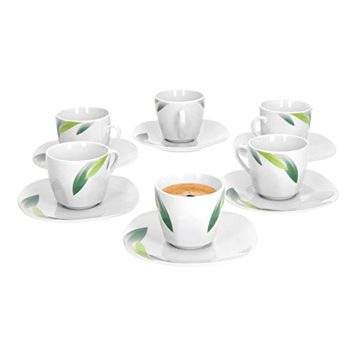 VAN WELL | 12-TLG. Espressotassen-Set Siena | 6 kleine Porzellan-Tassen 80 ml + 6 Unterteller | Blatt-Dekor grün | edles Porzellan | Gastro-Geschirr
