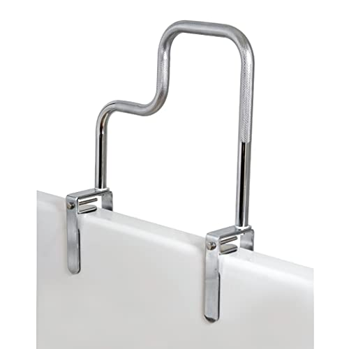 Carex Tri-Grip Bathtub Rail with Chrome Finish - Bathtub Grab Bar Safety Bar For Seniors and Handicap - For Assistance Getting In and Out of Tub, Easy to Install on Most Tubs