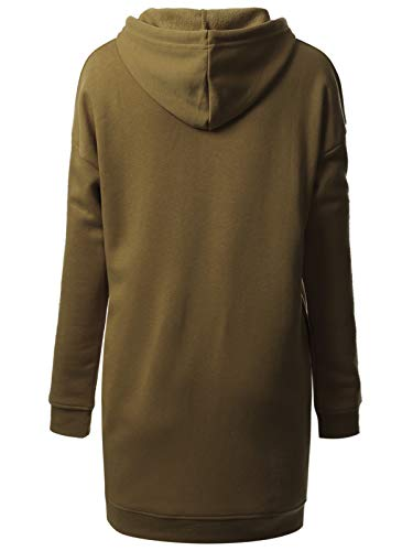 MixMatchy Women's Casual Oversized Long Sleeve Fleece Hoodie Sweatshirts Loose Pullover Tunic (S~3X) Dark Olive LX