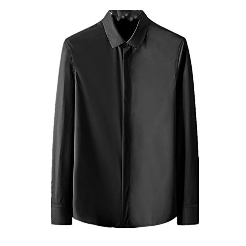 U/A hombres camisa de manga larga parte inferior de negocios color sólido fácil de usar camisa de los hombres