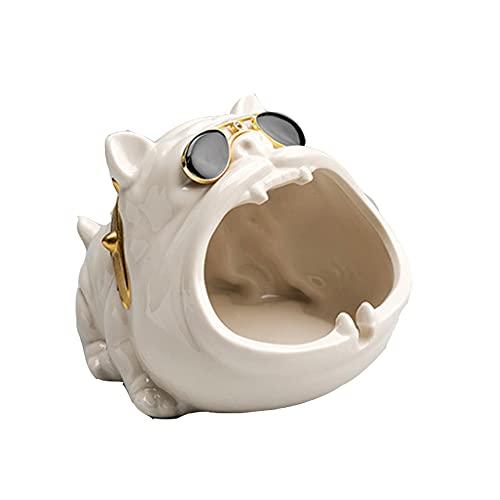 YXLM Cenicero de Perro de Dibujos Animados para el hogar, cenicero de cerámica Lindo y Creativo, Coche Personalizado a Prueba de Viento y Cenizas Volantes (14,5cm * 11.5cm * 9.5cm),White