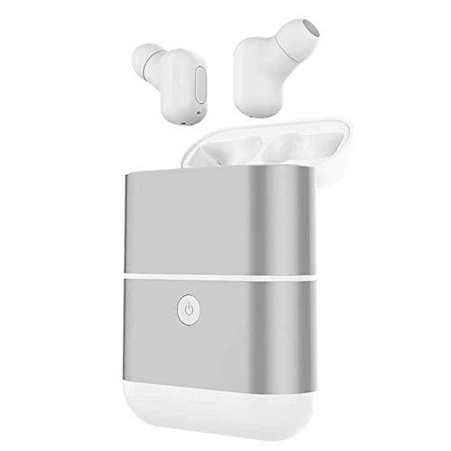QCHEA TWS Auriculares inalámbricos Auriculares Bluetooth 5.0 Auriculares inalámbricos Auriculares Manos Libres Auriculares Auriculares Bluetooth (Gris Plateado, Negro, Oro Rosa) (Color : Silver Grey)