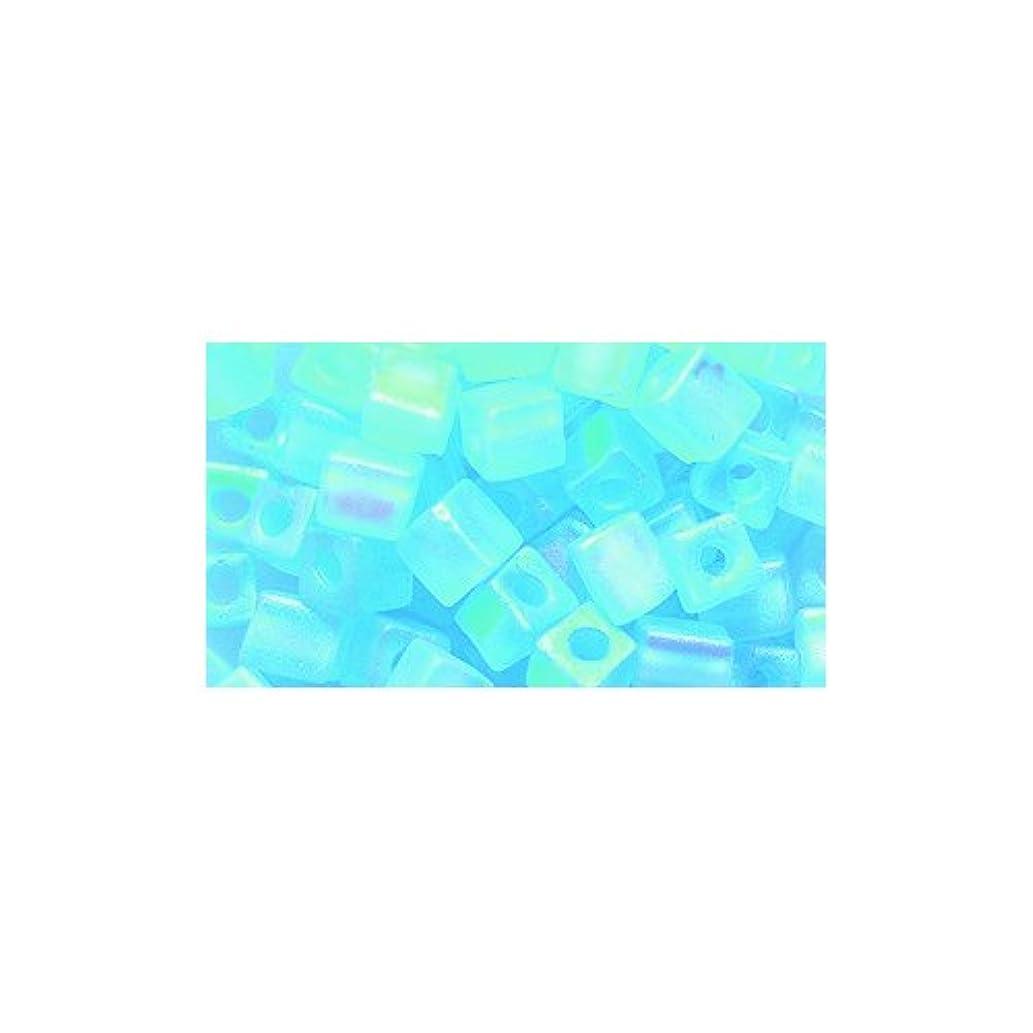 Miyuki Seed Cube Bead SB4-148FR, 4 by 4mm, Transparent Aqua Matte Aurora Borealis Finish, 25-Gram/Pack