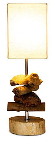 Tischlampe 15 x 50 x 15 cm Treibholz Teakholz Tischleuchte Holz Lampe Leuchte Naturholz Unikat Tischdeko Holzdeko Treibholzlampe