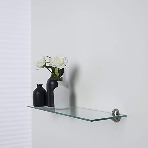 Duraline glazen rek, plankenset, badkamerrek, boekenplank, glazen plank | 60 x 15 cm x 6 mm | incl. drager bal mini