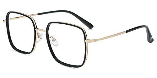 Firmoo Blaulichtfilter Brille ohne Sehstärke Damen Übergröße, Große Anti Blaulicht Computer Brille für Herren, UV400 Blaulicht Schutzbrille für Bildschirme gegen Kopfschmerzen Augenbelastung