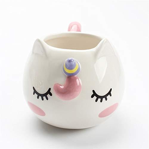 Reutilizable Taza de café Taza de café creativa Taza de café de viaje Tazas de porcelana de cerámica for café Leche Tazas y tazas de té Taza linda de unicornio ( Capacity : 201 300ml , Color : White )