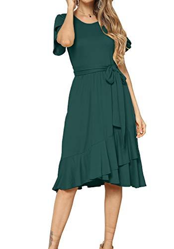 Women Casual Flowy Ruffle Knee Midi Length Work Dress Green S