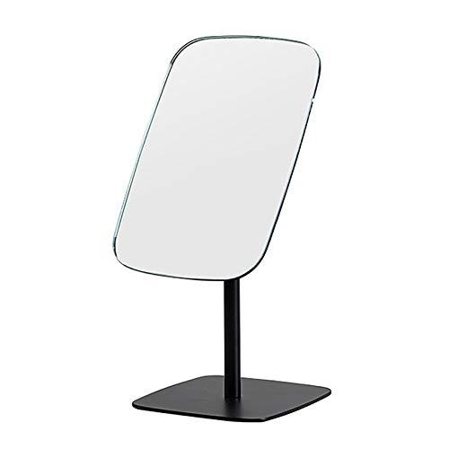 Espejo de tocador para dormitorio, espejo de maquillaje de escritorio independiente, ajustable 180°, 29x12.7cm, eespejo de vanidad HD con base de aluminio, adornos de espejo decorativo rectangulare