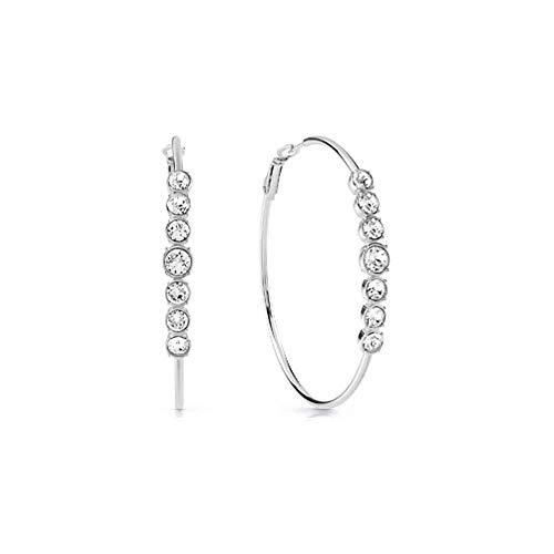Guess Damen-Creolen Multi Chrystal Hoops Edelstahl Swarovski-Kristall One Size Silber 32014015