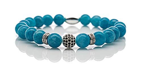 Perlenarmband Amazonite Perlen Royal Crown 925 Sterling Silber Bracelet