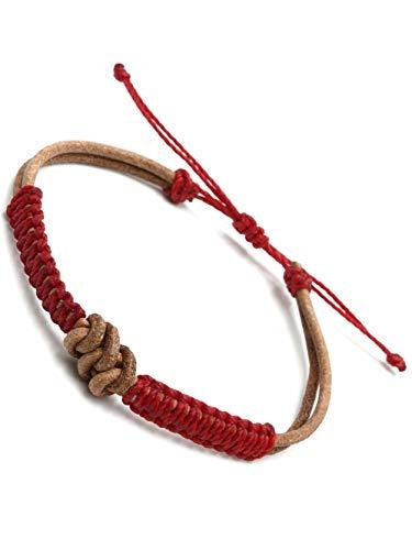 BENAVA Bracciale tibetano fatto a mano per uomo e donna   Braccialetto buddista portafortuna annodato nodo etnico macramè gioielli 16-24 cm, colore: rosso, cod. 100143