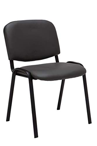 CLP Besucherstuhl Ken mit hochwertiger Polsterung und Kunstlederbezug I Stapelstuhl mit robustem Metallgestell und gepolsterter Rückenlehne, Farbe:grau