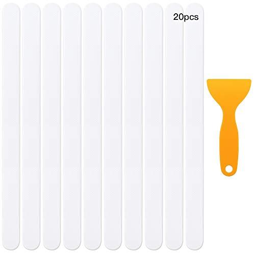 RtottiM 20 Stück Anti-Rutsch Streifen 45x2cm Transparent Selbstklebender Rutschschutz Anti-Rutsch-Sticker mit Kunststoffschaber und Bedienungsanleitung für Dusche Whirlpool Badewanne Treppen