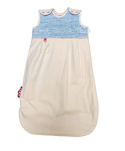 4 Jahreszeiten Kinderschlafsack in 3 Größen & vielen süßen Designs - Atmungsaktiver Schlafsack für einen erholsamen Schlaf mit Zizzz (90cm (6-24 M), blau gestreift)