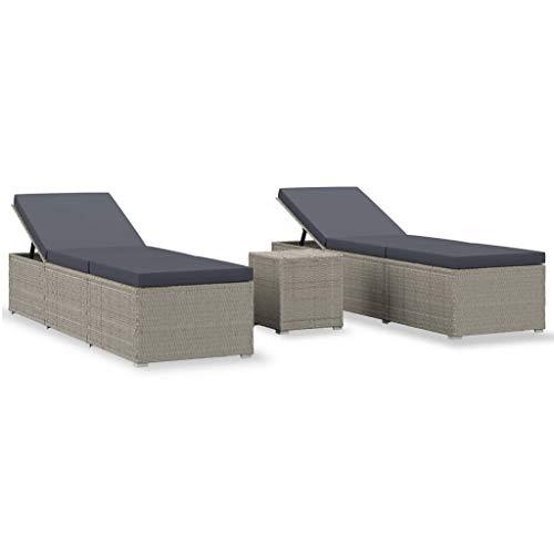 vidaXL Sonnenliege mit Teetisch 3-TLG. Gartenliege Gartenmöbel Liege Beistelltisch Relaxliege Strandliege Liegestuhl Freizeitliege Poly Rattan Grau