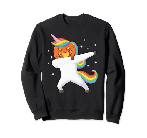 Dabbing Halloween Unicorn Scary Pumpkin Halloween Sudadera