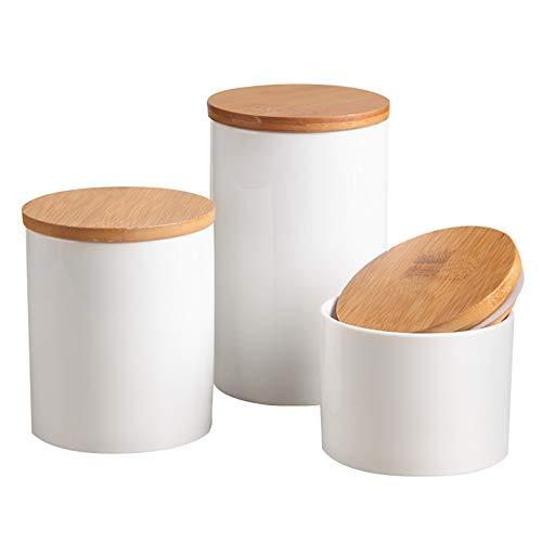 OnePine 3er Set Vorratsdosen Keramik mit Bambusdeckel Vorratsdose Kaffeedose Teedose - Keramik Aufbewahrungsdosen für Tee Kaffee Bohne Zucker Gewürz Nüsse Korn