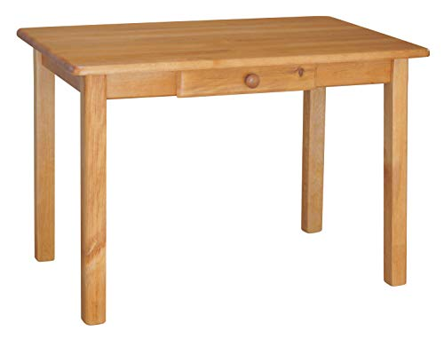koma Esstisch mit Schublade Küchentisch Speisetisch Tisch Kiefer massiv Restaurant Erle (120, 80)