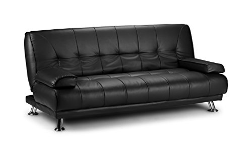 D & G Sofas VENICE CLICK CLACK FAUX LEATHER SOFA BED - BLACK, BROWN AND GREY (Black)