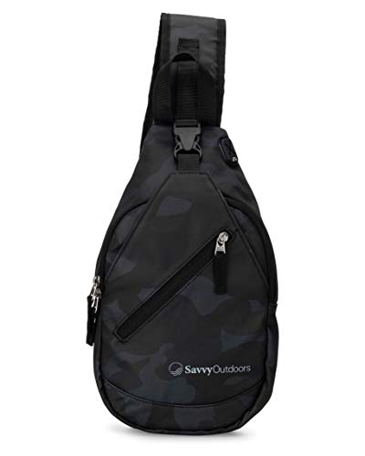 Sling Backpack for Women - Small Crossbody Bags Perfect for Hiking, Walking, & Travel (Black Camo)
