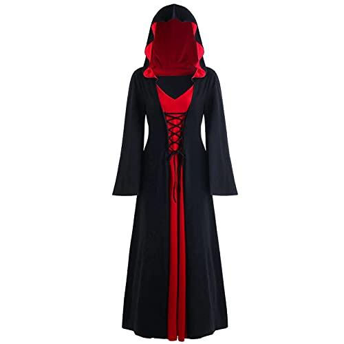 Darringls Halloween Kostüm Gothic Kleidung Damen Vintage Hoodie Kleid Lange Gothic Mittelalter Kleid Herbst Winter Umhang Oberteil Mit Kapuze Pullover Plus Size Kapuzenpullover Cosplay Kostüme
