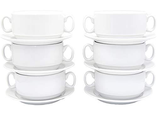 Juego de 12 piezas de 6 tazas de sopa de 300 ml con asa y 6 platillos de porcelana auténtica, cuencos soperos (vajilla para gastronomía y hogar).