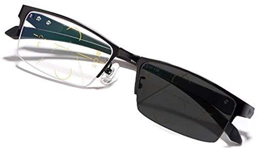 DDSGG Gafas de Lectura Progresiva Multifocus Fotocromáticas Gafas de Lectura, TR90 Primavera Armas Sun Gafas, Medio Borde de Metal Vasos, Copas de teléfono Unisex Vasos (Color : Black, Size : +2.75)