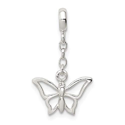 Colgante de plata de ley 925 con diseño de alas de ángel de mariposa pulida de 1/2 pulgadas para mujer