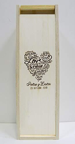 Arte-Deco Caja de Madera para 1 Botella de Vino. Grabada y Personalizada con CORAZÓN Love, Regalo para Hombre o Mujer, Bonito, Elegante y práctico para 1 Botella de Vino de su elección.